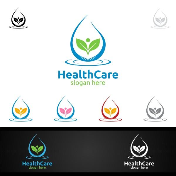 water drop health care medical logo