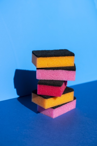 stack of colorful cleaning sponge on