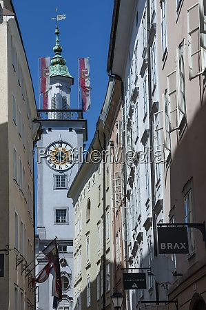 townhall clock tower salzburg mozarts birthplace
